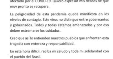Alberto Fernández le desea pronta recuperación a Bolsonaro