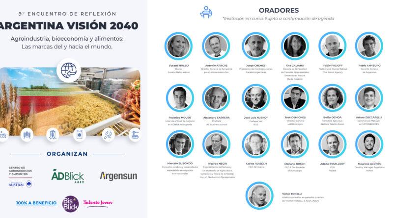 9° encuentro de reflexión: Argentina visión 2040: Agroindustria, bioeconomía y alimentos «las marcas del y hacia al mundo»